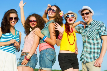 boy friend: Image of young people having fun  Summer vacation Stock Photo
