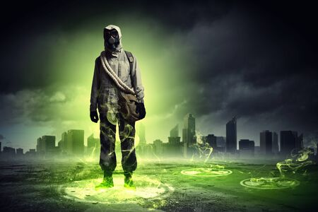 Image of stalker touching media sign  Pollution and disaster Stock Photo - 22003351