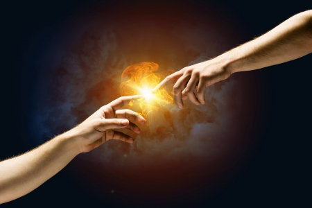 Michelangelo Gott s Touch Nahaufnahme der menschlichen Hände berühren mit den Fingern