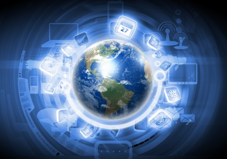 information international: Digital image of globe with conceptual icons   Stock Photo