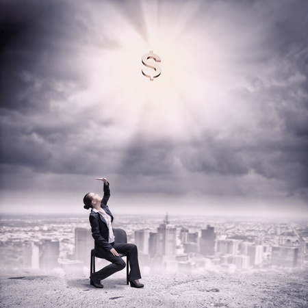 Image if businesswoman sitting on chair under rays of sun with dollar sign above photo