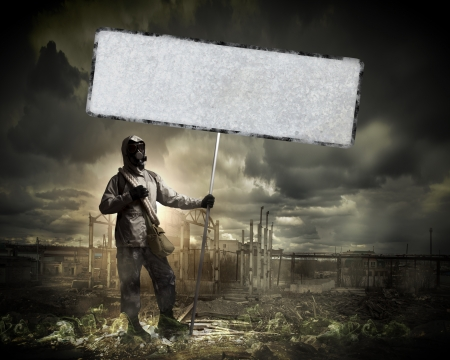 Image of stalker with blank banner against nuclear future Stock Photo - 22039860