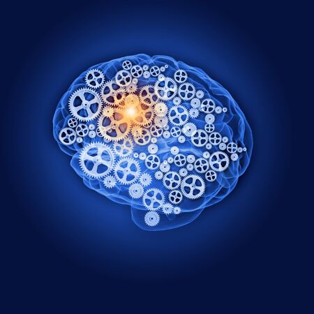Human brain silhouette with gears and cog wheel elements against black background Stock Photo - 22039910