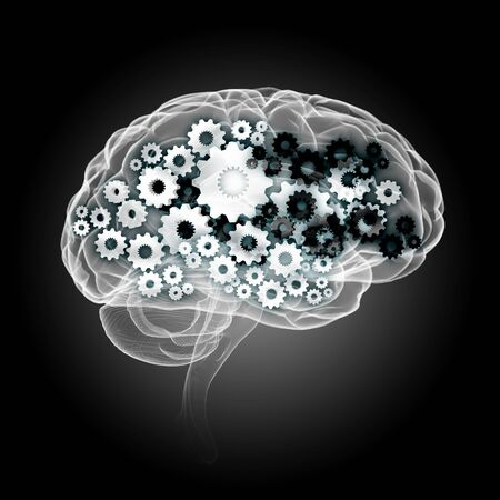 Human brain silhouette with gears and cog wheel elements against black background Stock Photo - 22039928