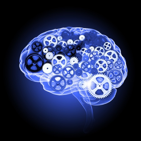 Human brain silhouette with gears and cog wheel elements against black background photo