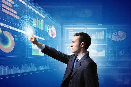 Image of businessman pushing icon of media screen  Marketing concept photo