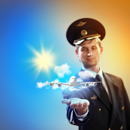 pilot light: Image of pilot with airplane taking off from his hand