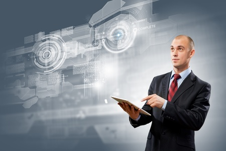 Image of businessman with tablet pc against media background photo