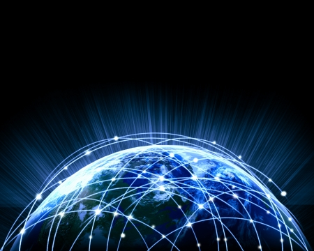 redes de mercadeo: Azul con la imagen vívida de la Globalización globo concepto elementos de esta imagen son proporcionados por la NASA