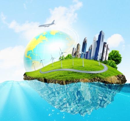 waterbesparing: Stad op het eiland drijvend in het water Broeikaseffect Stockfoto