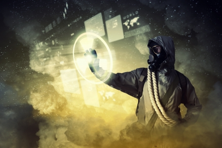 Image of stalker touching media sign  Pollution and disaster Stock Photo - 22071714