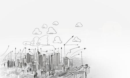 viviendas: Bosquejo Fondo con plan y estrategia de construcci�n Foto de archivo