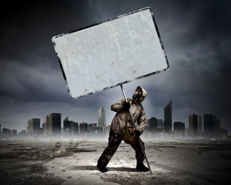 Image of stalker with blank banner against nuclear future photo