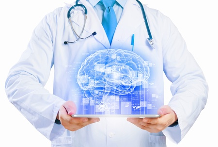 Close up of doctor s body holding tablet pc with media illustration illustration