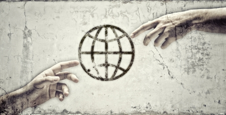 Close up of human hands touching with fingers  Elements of this image are furnished by NASA Stock Photo
