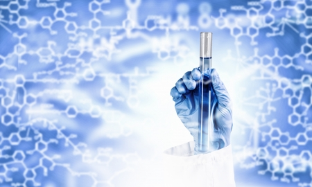 Close up image of human hand holding test tube  Science concept Stock Photo - 23346728