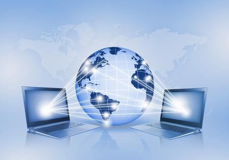 Image of laptop with globe illustration at background illustration