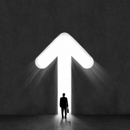 concept: Afbeelding van zakenman silhouet terug met permanente Stockfoto