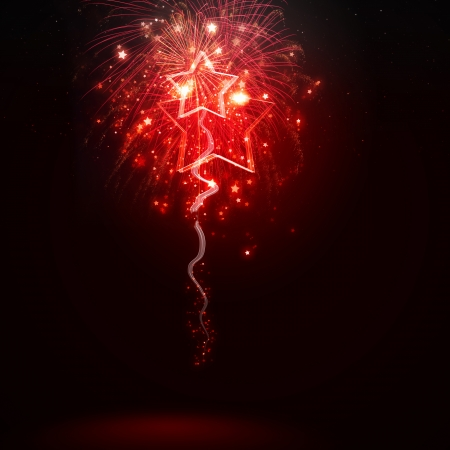 new years eve background: Background image with red fireworks against dark background