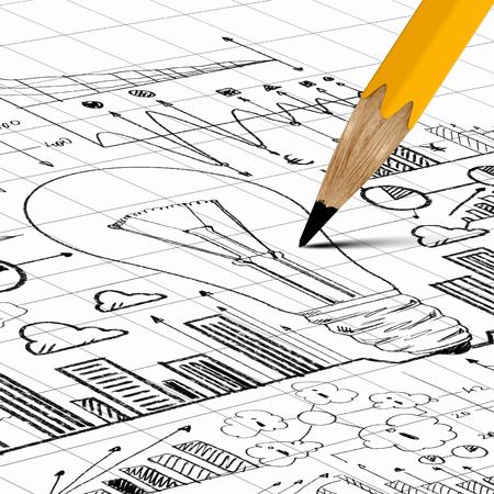Close up image of pencil sketch with business ideas and strategy photo