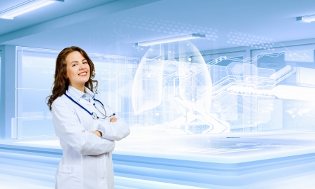 Image of young woman scientist in laboratory  Innovation concept photo