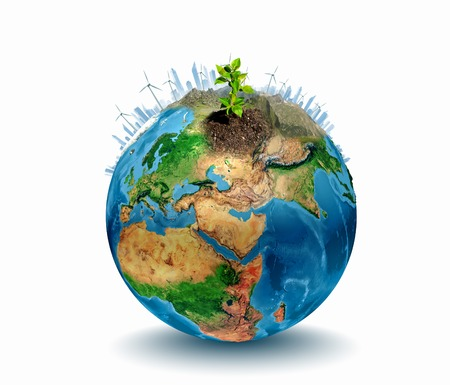 Conceptual image of planet Earth  Ecology concept  Elements of this image are furnished by NASA Stock Photo - 23347048