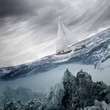 submerged: Submerged ocean view with yacht floating above