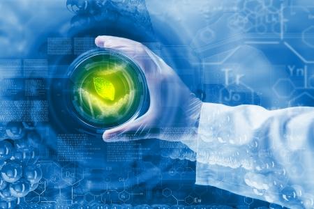Close-up beeld van de menselijke hand houden reageerbuis wetenschap concept