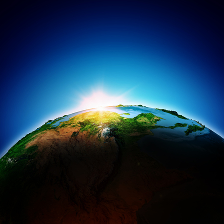 Sun rising above Earth planet   Stock Photo - 23436082