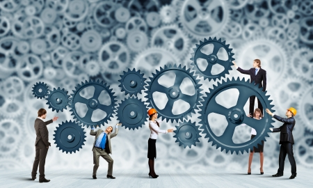 determination: Conceptual image of businessteam working cohesively  Interaction and unity