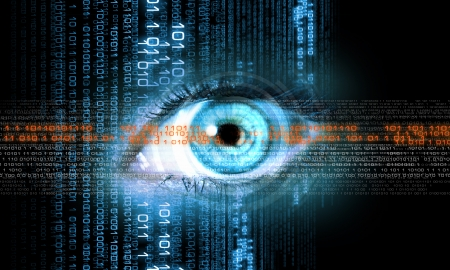 digital number: Digital image of woman s eye  Security concept Stock Photo