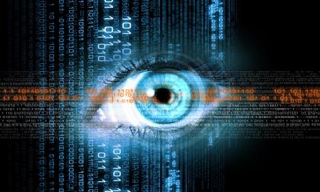 Digitale afbeelding van een vrouw s concept van de veiligheid oog