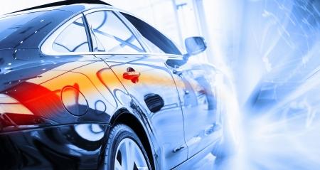 automobile sales: Back view of automobile in sales salon Stock Photo