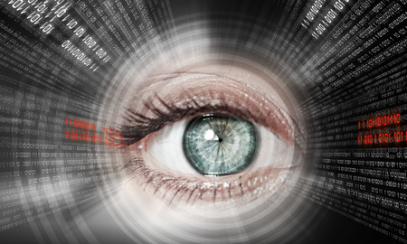 electronic circuit: Digital image of woman s eye  Security concept Stock Photo