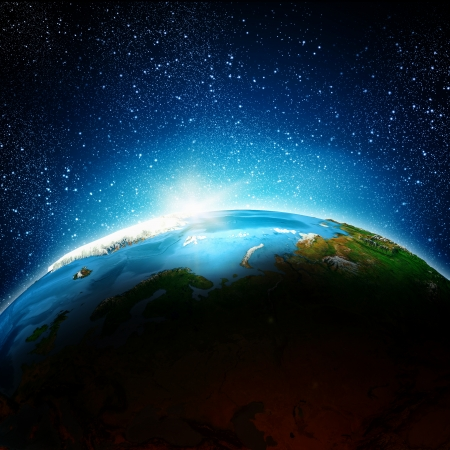 Sun rising above Earth planet   Stock Photo - 23436157