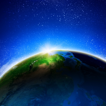 Sun rising above Earth planet  Conceptual photo  Elements of this image are furnished by NASA Stock Photo - 23438481