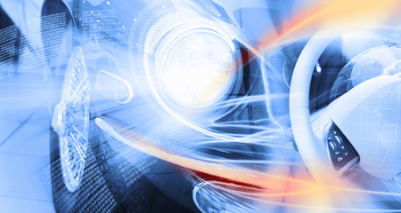 Close up image of car headlight Innovation concept