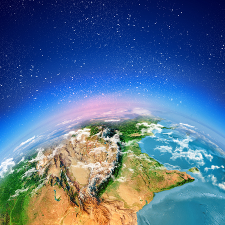 Sun rising above Earth planet  Conceptual photo  Elements of this image are furnished by NASA Stock Photo - 23436280