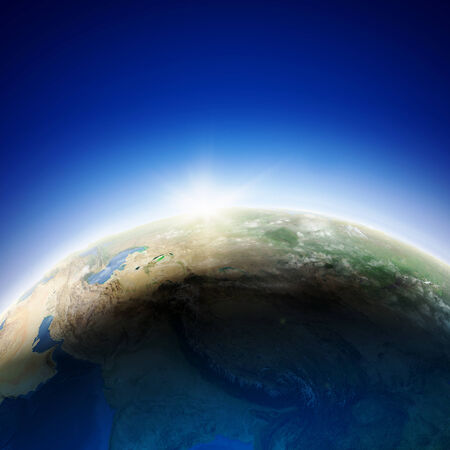 Sun rising above Earth planet  Conceptual photo  Elements of this image are furnished by NASA Stock Photo - 23499099