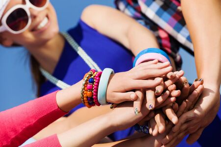 Group of young happy people  Unity concept Stock Photo