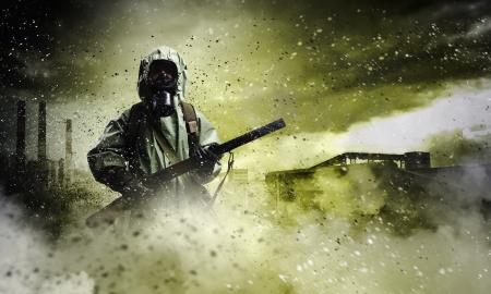 Imagen del acosador con el arma catástrofe Ecología Foto de archivo - 23500339