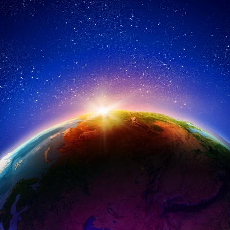 Sun rising above Earth planet  Conceptual photo  Elements of this image are furnished by NASA Stock Photo - 23500372