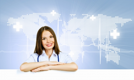 Image of young female doctor with blank banner  Place for text photo