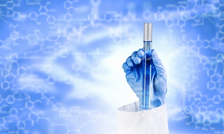 Close up image of human hand holding test tube  Science concept Stock Photo - 23503835