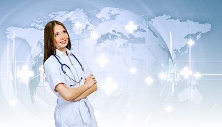 Image of young woman doctor against media background Stock fotó