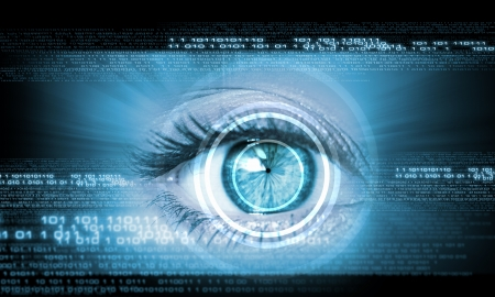 digital Numbers: Digital image of woman s eye  Security concept Stock Photo