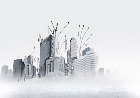 building sketch: Background sketch image with building plan and strategy Stock Photo