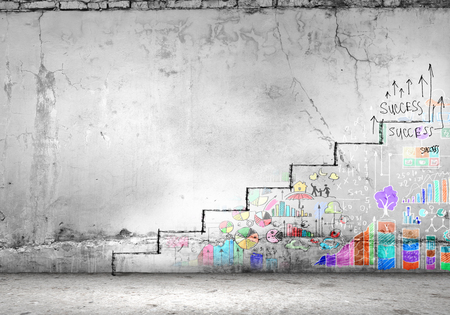 step ladder: Background image of ladder of success drawn on wall Stock Photo
