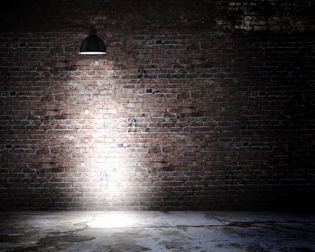上記のランプで暗い壁の背景イメージ