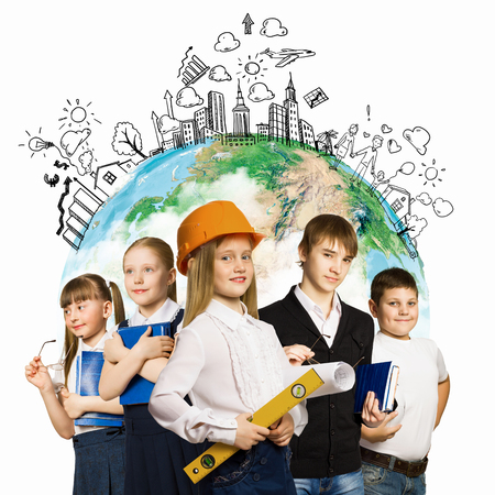 Image of kids of school age  Choosing profession  Elements of this image are furnished by NASA Stock Photo - 23781569